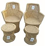 Ecowoodies Ajuga Eco Friendly Handicraft Cane / Wooden Breakfast Kitchen Pub High Chair Garage Game Living Room Home Kitchen Counter Indoor/Outdoor Balcony Terrace Garden Lawn Cafeteria Restaurant Bar Sitting Stool Chair Furniture ( 2 Chairs + 2 Stools)