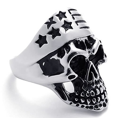 (ANAZOZ Silver Black Retro Punk Style Stainless Steel Star Gothic Skull Rings Size 11)
