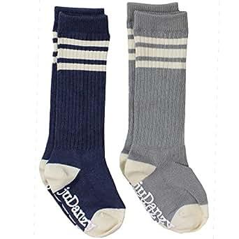 juDanzy knee high tube socks for boys, girls, baby, toddler & child (6-12 months, gray & Blue)