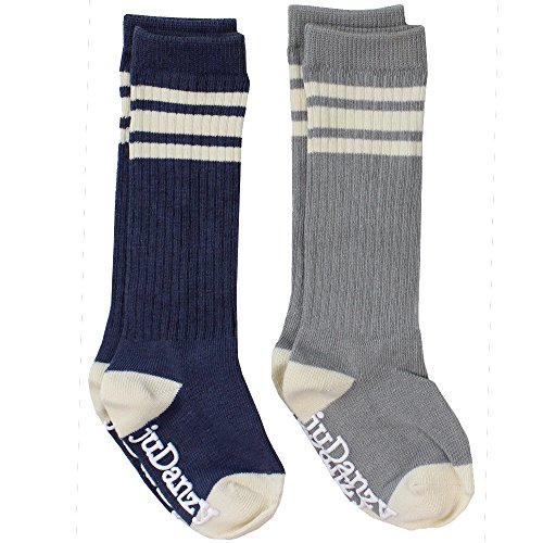 (juDanzy knee high tube socks for boys, girls, baby, toddler & child (2-4 Years, gray & Blue))