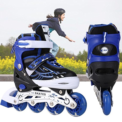 Fashine Adjustable Inline Rollerblades for Boys and Girls with Breathable Mesh Flashing Wheel Inline Skates [US STOCK]