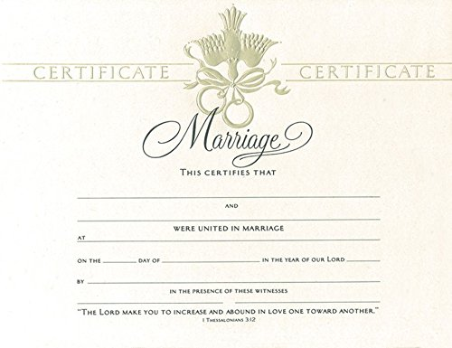 Certificate-Marriage (Dove Embossed) ()