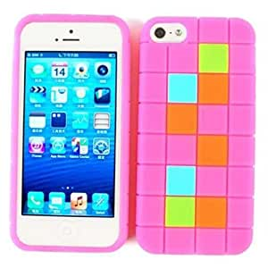 NOVELTY RUBBER SKIN SILICON GEL JELLY SOFT FOR APPLE IPHONE 5 TETRIS PINK SQUARES