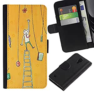 For SAMSUNG Galaxy S4 IV / i9500 / i9515 / i9505G / SGH-i337,S-type® Cat Painting Art Yellow - Dibujo PU billetera de cuero Funda Case Caso de la piel de la bolsa protectora