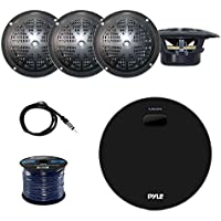 Pyle Marine Bluetooth Water Resistant Amplifier Receiver with Pyle 4 Inch Dual Cone Waterproof Stereo Speakers (Black) (2-Pairs), Enrock Marine Antenna and Enrock Audio 50 Foot 16-Gauge Speaker Wire