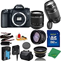 Great Value Bundle for 70D DSLR – 18-55mm STM + 75-300mm III + 32GB Memory + Wide Angle + Telephoto Lens + Case
