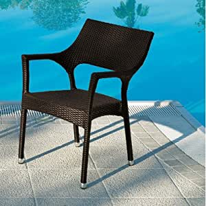 Cafenoir Outdoor Stackable Dining Chair with Cushion by Varaschin R and D [Set of 2] Seat Colour: Dark Brown, Cushion Colour: Sun Screen
