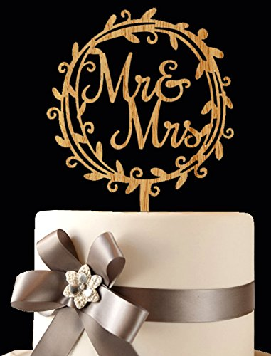 BABEYOND Mr & Mrs Cake Topper Pick Wooden Cake Topper Wedding Cake Toppers Mr and Mrs for Wedding Anniversary Engagement Bridal Shower Party Supplies (Style-1)