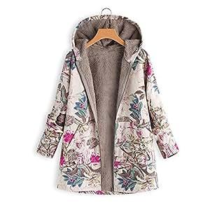 SMILEQ - Abrigo de Invierno para Mujer, cálido, Estampado Floral, con Capucha,