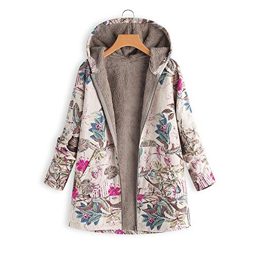 EraseSIZE Womens Winter Warm Outwear Floral Print Hooded Pockets Vintage Oversize Coats (2XL, Hot Pink)