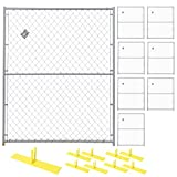 Crowd Control Temporary Fence Panel Kit - Perimeter Patrol Portable Security Fence - Safety Barrier for protecting property, construction sites, outdoor events. 5'W x 6'H Silver Chain Link - 8 Panel Kit