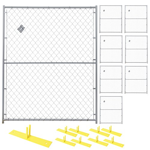 Crowd Control Temporary Fence Panel Kit - Perimeter Patrol Portable Security Fence - Safety Barrier for protecting property, construction sites, outdoor events. 5'W x 6'H Silver Chain Link - 8 ()