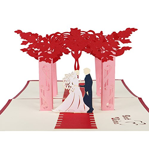 Creative All Occasion Greeting Cards - Ambithou 3D Pop Up Handmade Foldable Wedding Greeting Card for Every Occasion,Wedding, Birthday,Valentine's Day, Halloween, Christmas Eve for $<!--$7.99-->
