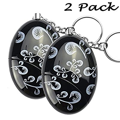Pack of 2 Black Smart Emergency Personal Alarm Keychain for Women,Kids,Girls,Superior,Explorer Bag Decoration Self Defense Electronic Device with 120dB Suitable
