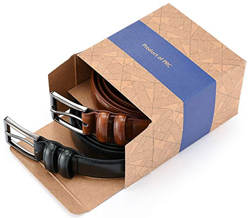 Gallery Seven Mens belt - Genuine Leather Dress Belt - Classic Casual Belt in gift box - 2 Pack - Burnt Umber & Black - Size 36 (Waist: 34) by Gallery Seven (Image #2)