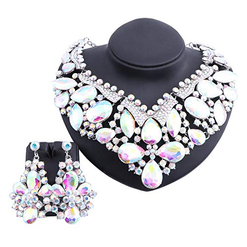 Women Statement Rhinestone Crystal Choker Collar Necklace Earring Fashion Jewelry Set with Gift Box (Silver AB)