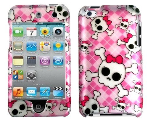 New Rubberized Silver 2D SKULL PINK ARGYLE Checker Hard Snap-on Crystal Skin Case Cover Accessory for Ipod Touch 4th Generation 4g 4 8gb 32gb 64gb