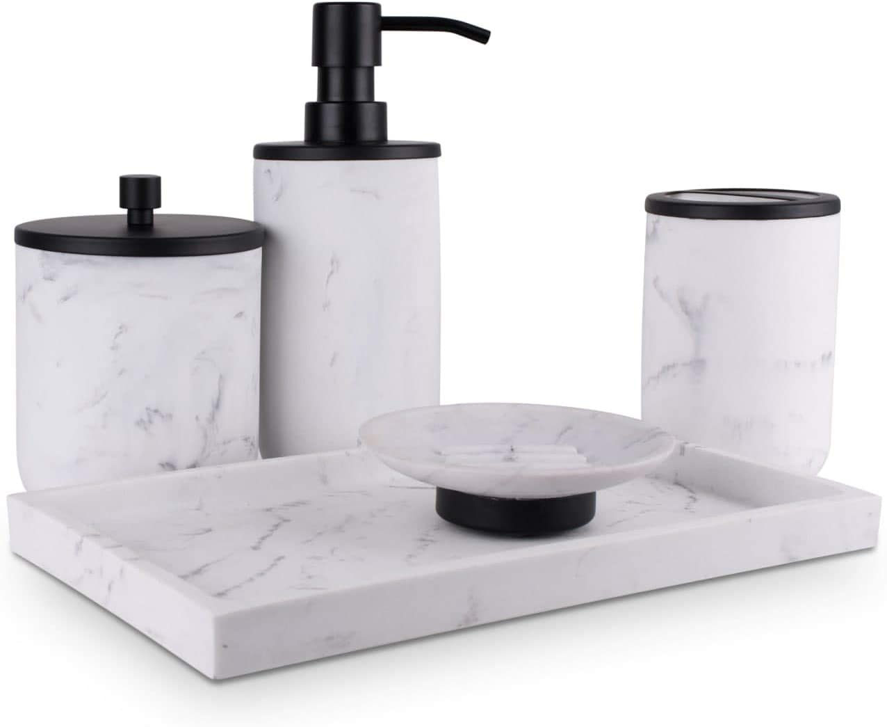L'MKI Bathroom Soap Dispenser Set - Bathroom Toothbrush Holder Set, Marble Bathroom Accessories, Matte Black Bathroom Accessories Set, Farmhouse Bathroom Decor, 5-Piece Bathroom Accessories Set