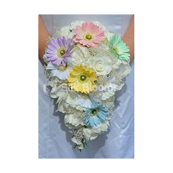 Gorgeous Fresh Touch Ivory Peony, Rose, Frangipani and Hibiscus Bridal Bouquet with Pastel Gerberas and Gypsophila