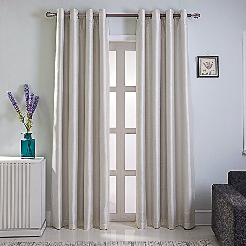 GYROHOME Heavy Faux Silk Blackout Curtains Fully Lined Solid Color Window Treatment Drapes for Bedroom and Living Room Thermal Insulated Grommet Top Room Darkening Drapes,2 Panels