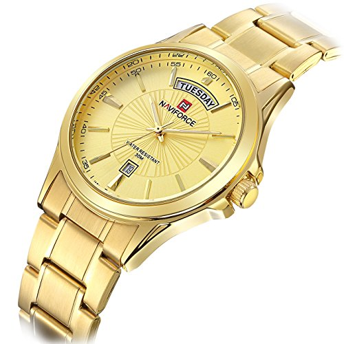 Tamlee Mens Gold Plated Analog Quartz Waterproof Stainless Steel Wrist Watch with Classic Design (Gold Gold Plated Wrist Watch)