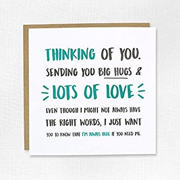 thinking of you big hugs card with sympathy get well soon