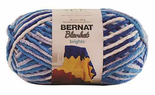 Bernat Crochet Patterns (Bernat Blanket BrightsYarn - (6) Super Bulky Gauge  - 10.5 oz - Waterslide Variegate  -  Machine Wash & Dry)