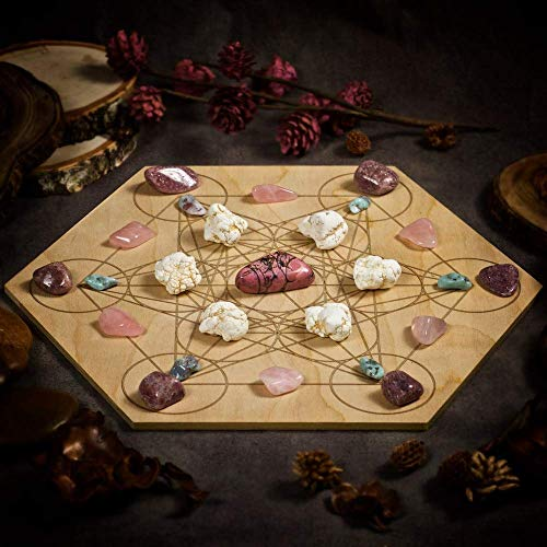 Attract Your Soulmate Large Crystal Grid Set with Rhodonite, Magnesite, Larimar, Rose Quartz, Pink Aventurine, and 11.75