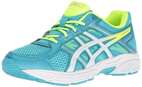 Price comparison product image ASICS Girls' Gel-Contend 4 GS Running Shoe, Aquarium/White/Safety Yellow, 5 M US Little Kid