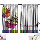 Jinguizi Birthday Curtain for Kids Room Pink Written Congratulations Graphic Cake Candles Balloons Birthday Art Print Party Darkening Curtains Multicolor W108 x L72