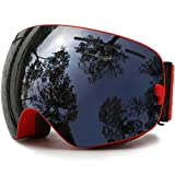 Ski Goggles, Skiing Skating Snowboarding Goggles With Anti-fog UV Protection Detachable Spherical Dual Lens for Men Women & Youth Winter Snow Sports Snowmobile (Red Black)