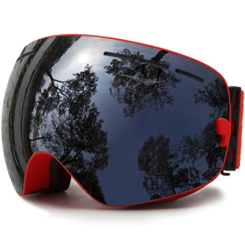Ski Goggles, Skiing Skating Snowboarding Goggles With Anti-fog UV Protection Detachable Spherical Dual Lens for Men Women & Youth Winter Snow Sports Snowmobile (Red - Skiing Eyewear