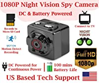 1080p FULL HD RESOLUTION PINHOLE SPY CAMERA with Motion Detection, 100mins Rechargeable Battery, Night Vision Invisible IR, Micro SD Card Slot, Portable Mini Indoor/Outdoor Sport Hidden Spy Gadget