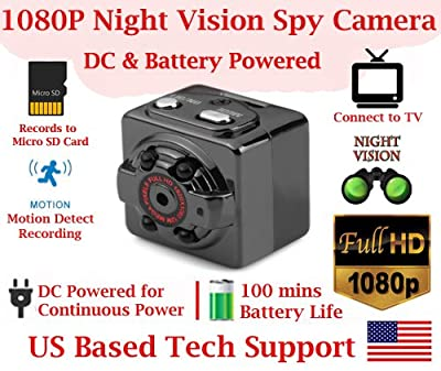 1080p FULL HD RESOLUTION PINHOLE SPY CAMERA with Motion Detection, 100mins Rechargeable Battery, Night Vision Invisible IR, Micro SD Card Slot, Portable Mini Indoor/Outdoor Sport Hidden Spy Gadget by AES Spy Cameras