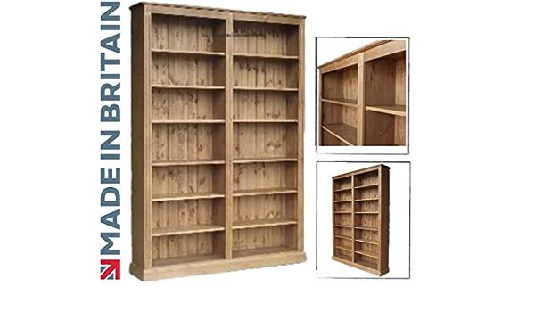 Pino macizo librero, artesanal 213,36 cm x 152,4 cm y enceré biblioteca ajustable pantalla estanterías de almacenamiento. Estanterías. Elección de ...