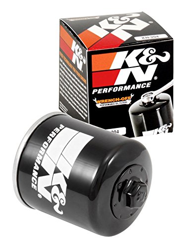 Dlx Oil - K&N KN-204 Motorcycle/Powersports High Performance Oil Filter, Black