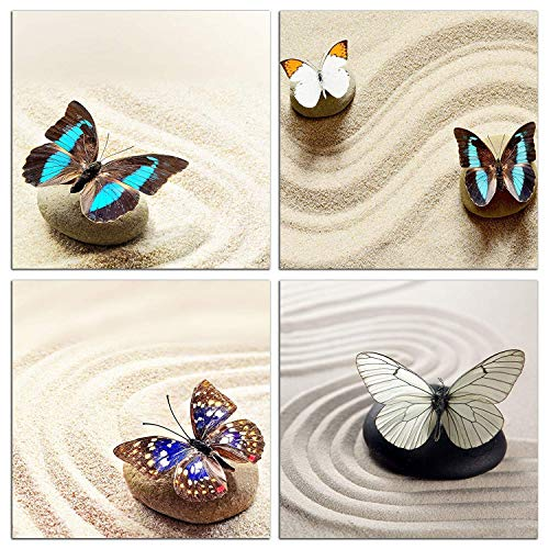 (NAN Wind Modern 4 Piece Zen Canvas Wall Art Zen Stone and Butterfly Still Life Modern Home Decor Stretched and Framed Ready to Hang Painting for Home Decoration Modern Painting Wall Decor Canvas)