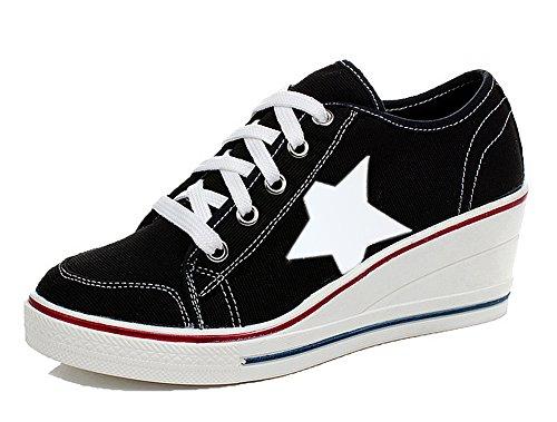 Padgene Women's Canvas High-Heeled Shoes Lace Up Fashion Sneakers Platform Wedges Pump Shoes (8 B(M) US, Black 2) 7' High Heel Platform Pump