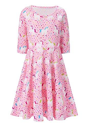 House Old Street (Girl's White House Unicorn Print 3 4 Sleeve Aline Dresses Infant Toddler Twirly Dress Pupil Preschooler Simple Street Dress Size 4 5 Costume a One-Piece Garment for Girl Fall (White Unicorn, 4-5 T))