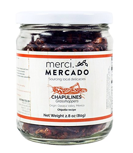 Chapulines (grasshoppers) - Gourmet edible insects from Oaxaca Mexico (Chipotle recipe) (Merci Mercado 2.8oz)]()