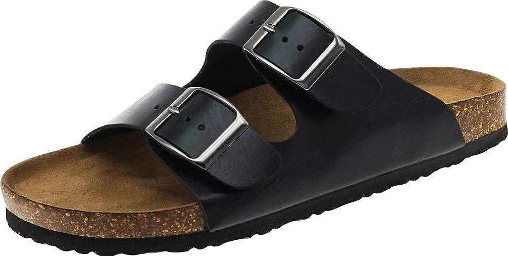 Black Pu Cambridge Select Men's Classic 2-Strap Buckle Slip-On Flat Slide Sandal