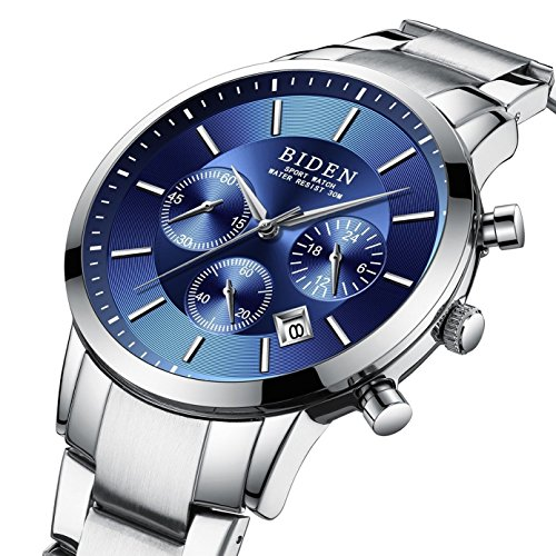 - Watch,Mens Watches,Sport Casual Fashion Business Wrist Watch,Stainless Steel Waterproof Silver Blue Multifunctional Chronograph