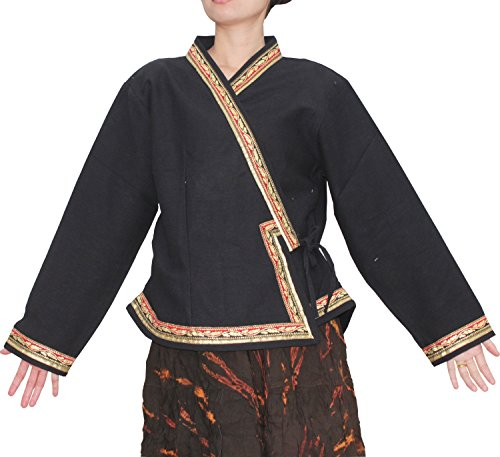 Thai Cotton Ladies Shirts (Raan Pah Muang RaanPahMuang Brand Traditional Thai Ladies Cross Gold Leaf Trim Shirt, XX-Large, Black)