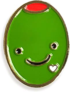 product image for Night Owl Paper Goods Olive Love Enamel Pin, Gold