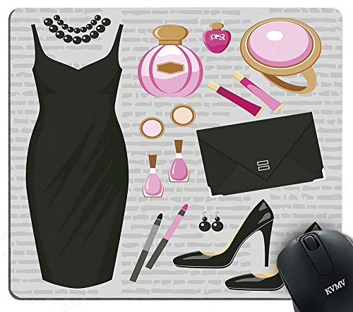 Gaming Mouse Pads Black Smart Cocktail Dress Perfume Make up Clutch Bag Mouse pad for Notebooks,Desktop Computers Mini Office Supplies Non-Slip Mouse Mats ()