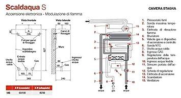 Biasi - Calentador a gas tiraggio Natural Camera abierta 11 Lt Biasi - scaldaqua - -GPL: Amazon.es: Bricolaje y herramientas