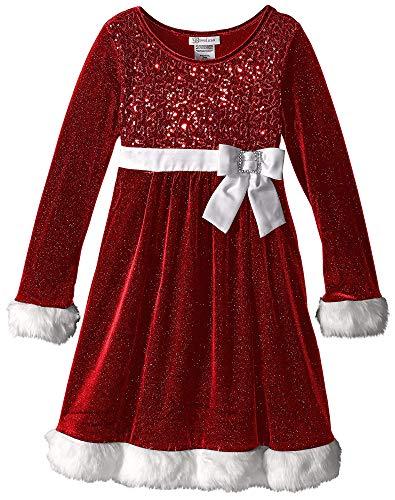 Big Girls Tween 7-16 Sequined Bodice Rhinestone Bow Long Sleeve Santa Dress (16, -