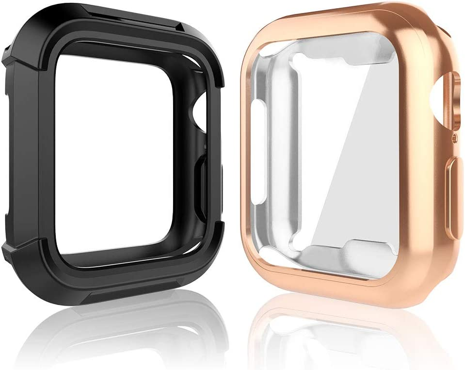 Compatible for iWatch 38mm Case, Toward Rugged Shock Proof Bumper Cover with Soft TPU Screen Protector Case for iWatch 38mm Series 3, Series 2, Series 1 (Black + Rose Gold, 38mm)