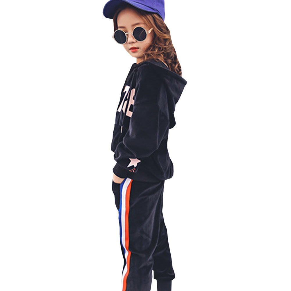 M&A Girls Casual Tracksuit Velvet Hoodie + Pants Clothing Set by M&A (Image #8)
