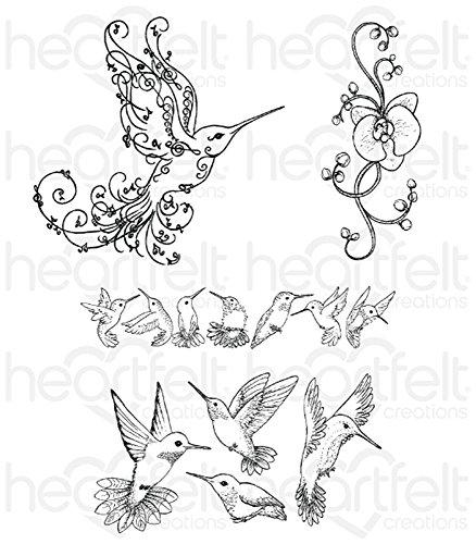 Heartfelt Creations Botanic Orchid - Regal Hummingbird stamps
